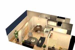 3Dプランによってお部屋の家具の配置、カラーなどをご提案させていただきました。