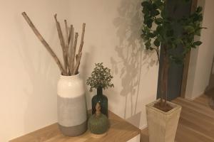 インテリアグリーンがあるとお部屋が明るくなります。小物雑貨もインテリアの大切な要素です。